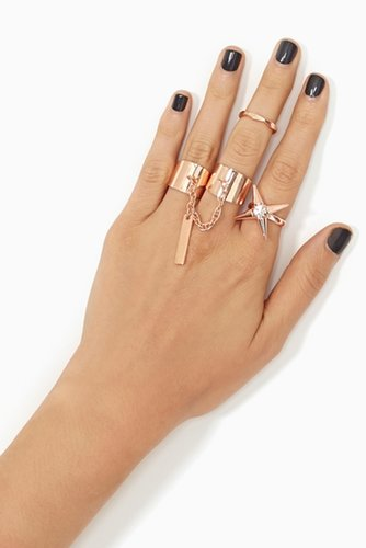 Spiked Crystal Ring - Gold