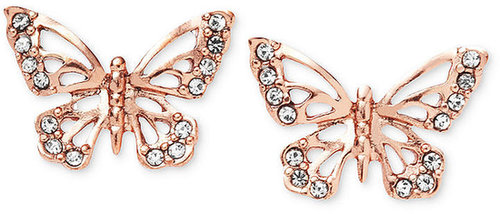 Fossil Earrings, Rose Gold-Tone Crystal Butterfly Stud Earrings