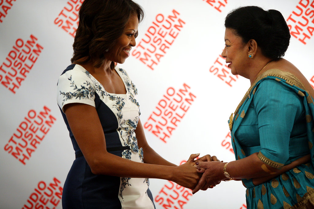 Sri Lankan First Lady Shiranthi Rajapaksa greeted Michelle during the luncheon.