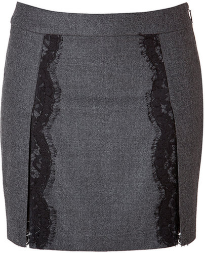 Roberto Cavalli Stretch Wool Mini-Skirt with Lace in Dark Heather Grey