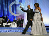 Michelle Obama stole the show in a strapless plaid gown at the Congressional Black Caucus Foundation dinner in Washington DC.