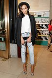 Selita Ebanks paired her cropped denim with cool extras at the Food Bank for New York event at Henri Bendel.