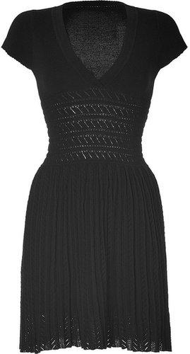 Paul & Joe Black Knitted Cotton V-Neck Dress
