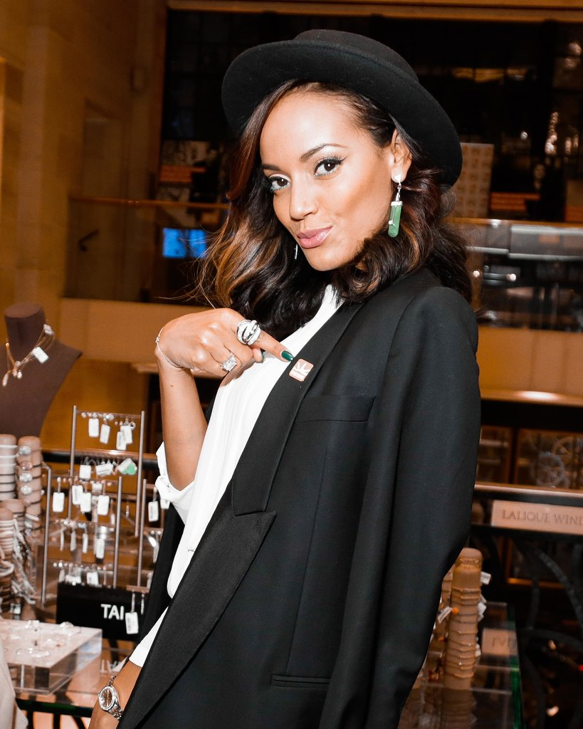 Selita Ebanks's turquoise manicure and matching inner-eyeliner is just too cool and it works at an event at Henri Bendel. And the cool cap and cat eye? Too cute for words.