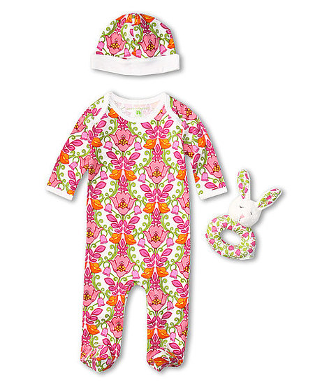Bold, floral, and fun, Vera Bradley's Layette Set ($60) includes a baby beanie and a sweet coordinating rattle.