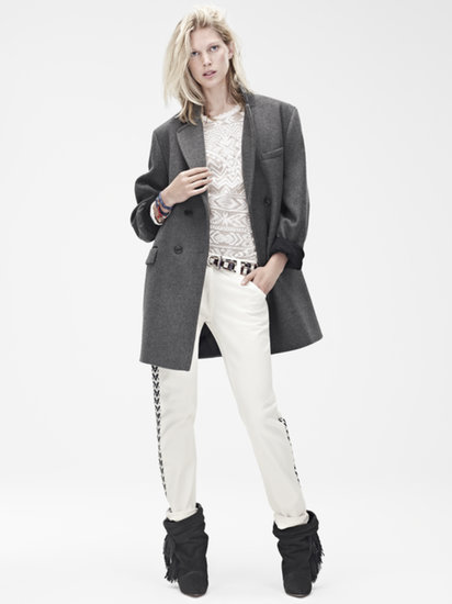Isabel Marant for H&M Coat ($199), top ($99), trousers ($99), leather boots ($299), belt ($50) Photo courtesy of H&M