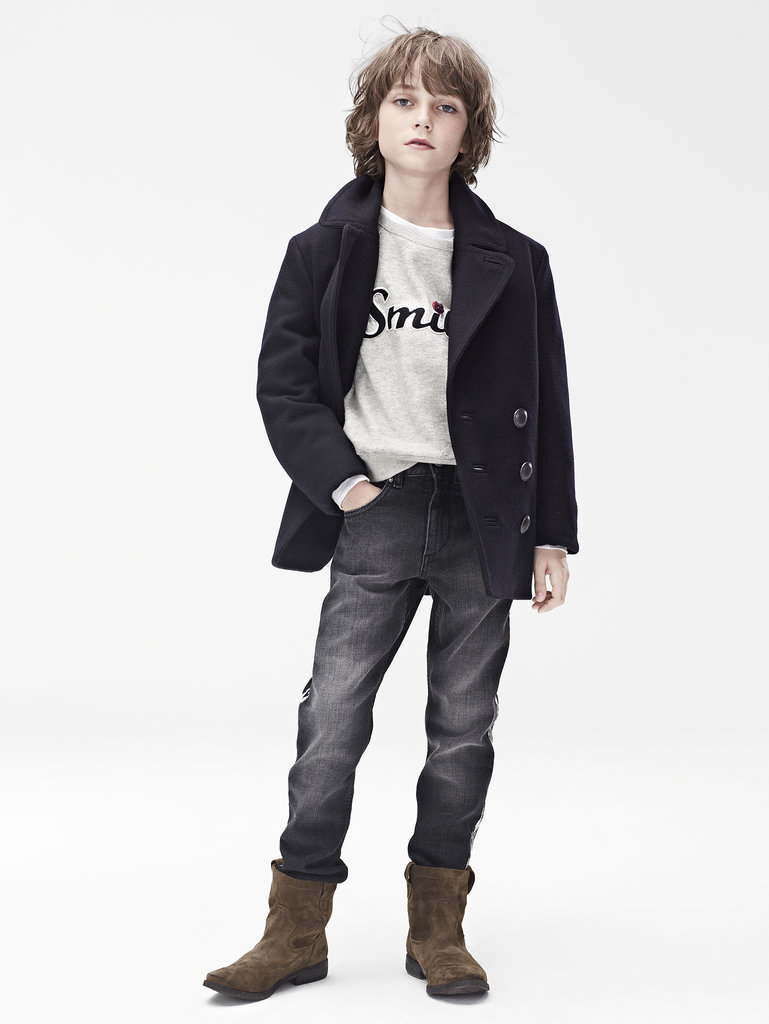 Isabel Marant for H&M Coat ($80), sweater ($50), trousers ($50), suede boots ($99) Photo courtesy of H&M
