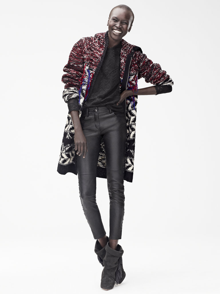 Isabel Marant for H&M Cardigan ($149), top ($99), leather trousers ($299), leather boots ($299) Photo courtesy of H&M