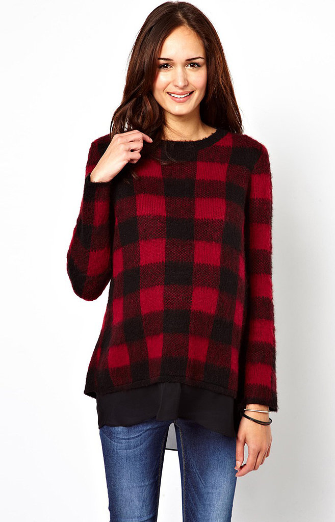 ASOS Checked Jumper With Chiffon Hem