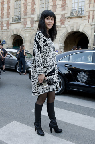 A unique motif on this dress livened up a black and white look.