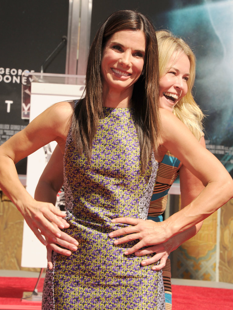 Chelsea Handler and Sandra Bullock laughed together after her hand- and footprint ceremony.