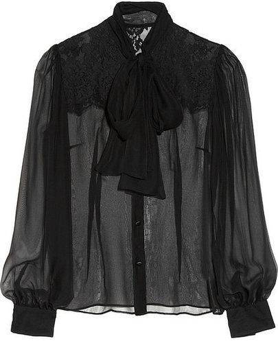 Dolce & Gabbana Silk-blend chiffon pussy-bow blouse