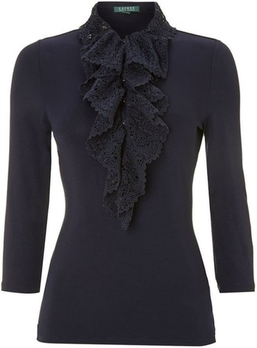 Lauren by Ralph Lauren Lace neck top with ruffle dettail