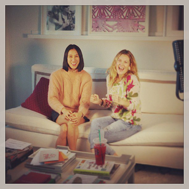 Drew Barrymore chatted and laughed with Lucky editor in chief  Eva Chen. Source: Instagram user drewbarrymore