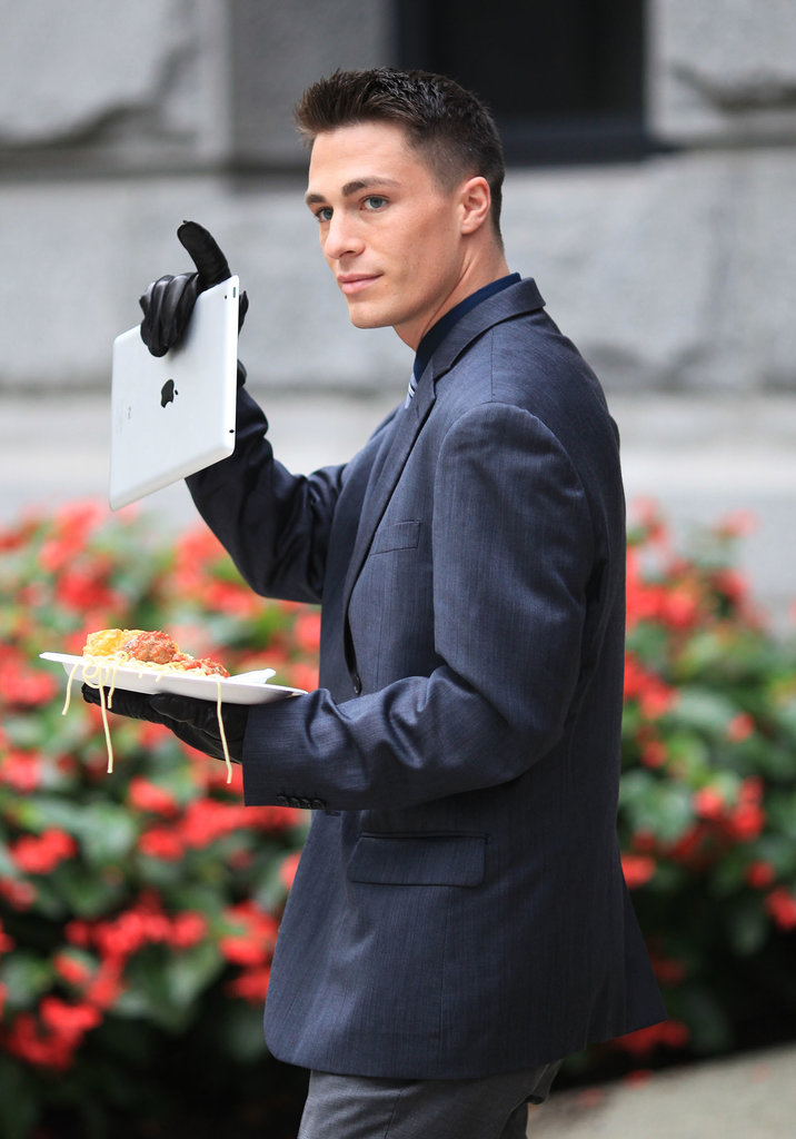 Colton Haynes gave a wave during his Wednesday lunch break on the Vancouver set of Arrow.