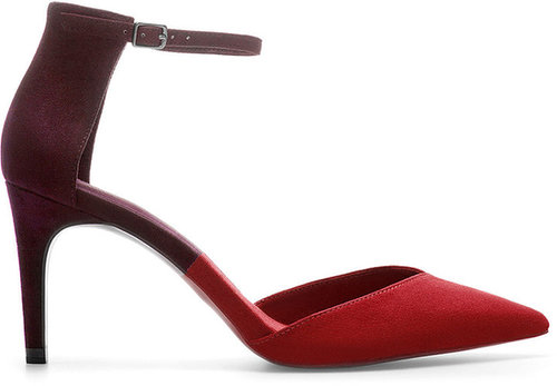 Two-Tone Pointed Ankle Strap Shoe