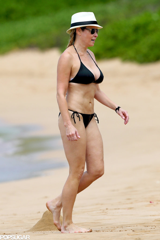 Chelsea Handler sported a black swimsuit on the beach.