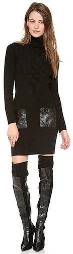 Milly Leather Pocket Knit Dress