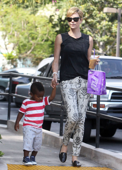 Charlize Theron walked hand in hand with Jackson.