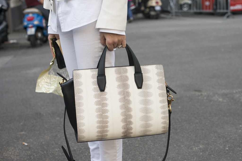 Joanna Hillman's Alexander Wang bag was the perfect complement to her all-white ensemble.