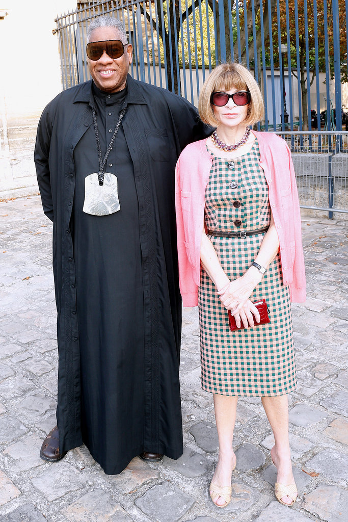 André Leon Talley and Anna Wintour made a hard-to-miss and stylish pair outside the Balenciaga show.