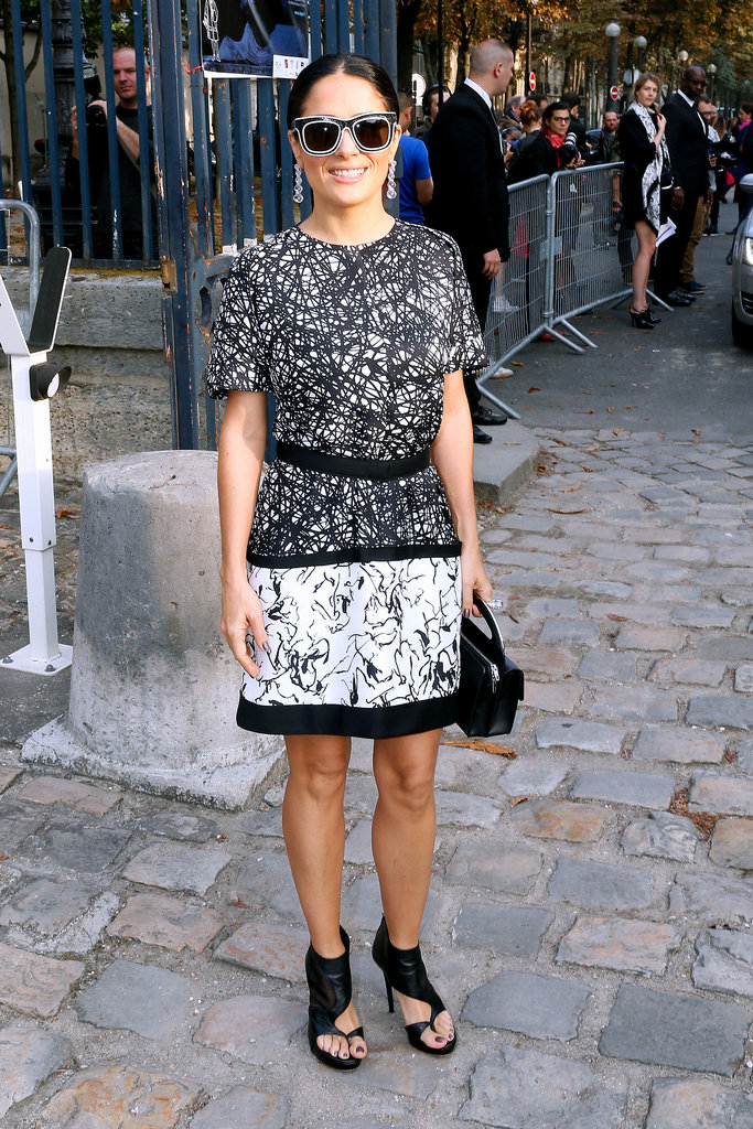 Salma Hayek kept her shades on for the Balenciaga show on Thursday.