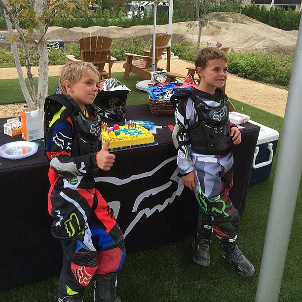 Britney Spears's sons, Jaden and Sean, were all geared up for their motocross-themed birthday party. Source: Instagram user britneyspears