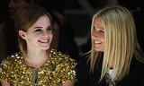 Gwyneth Paltrow sat front row with Emma Watson at the Burberry runway show during London Fashion Week in September 2009.
