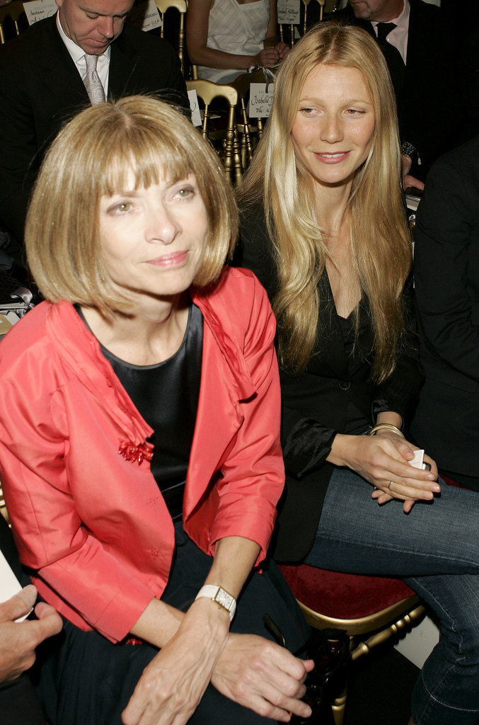Gwyneth Paltrow sat front row with Anna Wintour at the Valentino runway show during Paris Haute Couture Fashion Week in July 2005.