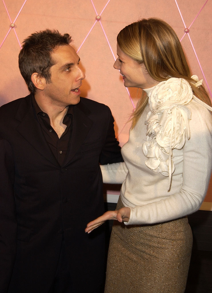 Gwyneth Paltrow chatted with Ben Stiller at the LA premiere of The Royal Tenenbaums in December 2001.