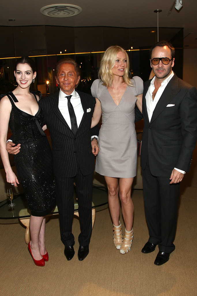 Gwyneth Paltrow was surrounded by fashionable friends at the LA premiere of Valentino: The Last Emperor in April 2009 — she arrived alongside Anne Hathaway, Tom Ford, and Valentino Garavani himself.