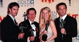 Gwyneth Paltrow joined Rupert Everett, Geoffrey Rush, and Ben Affleck in the press room after they one awards for Shakespeare in Love at the SAG Awards in March 1999.