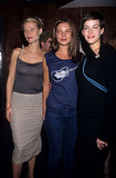 Such a cool moment — Gwyneth Paltrow, Kate Moss, and Liv Tyler hanging out together in NYC, at a Beck concert in September 1998. A Beck concert!