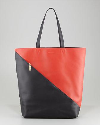Time's Arrow Infinite Colorblock Leather Tote Bag, Paprika/Black/Gold