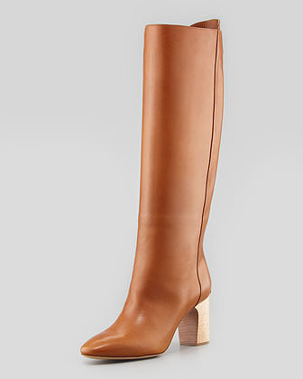 Chloe High-Heel Leather Pull On Boot, Brown