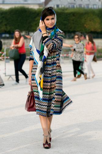 Miroslava Duma brought the color in a zigzag coat.