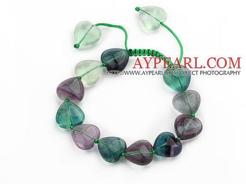 Green Series Heart Shape Rainbow Fluorite Knotted Adjustable Drawstring Bracelet