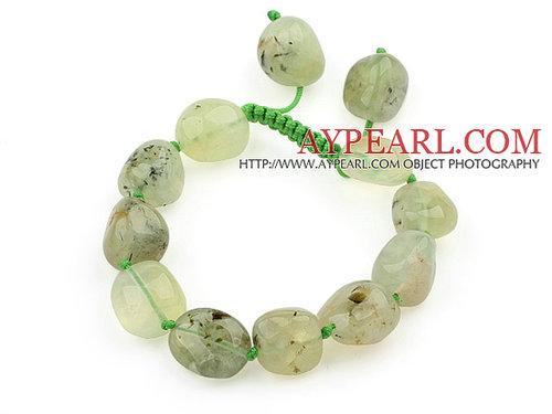 Green Series Fillet Irregular Shape Prehnite Knotted Adjustable Drawstring Bracelet