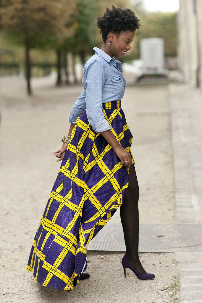 Balancing a bold skirt with a basic denim top.