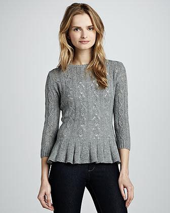 Autumn Cashmere Pointelle Cashmere Peplum Sweater, Cement