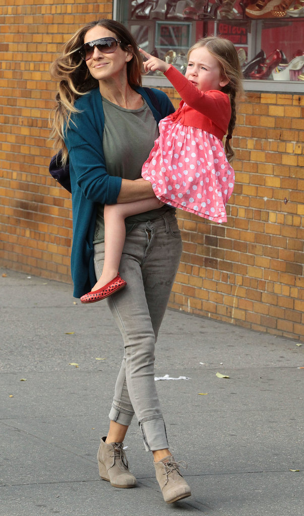 Sarah Jessica Parker walked her daughters to school on Friday in New York.