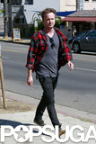 Aaron Paul made his way to lunch with his wife in LA.