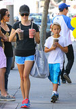 Reese Witherspoon grabbed smoothies with Deacon, who wore Jordan shorts.