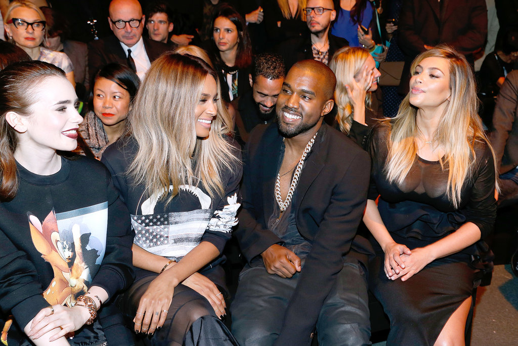 Lily Collins, Ciara, Kanye West, and Kim Kardashian chatted at Sunday's Givenchy show.
