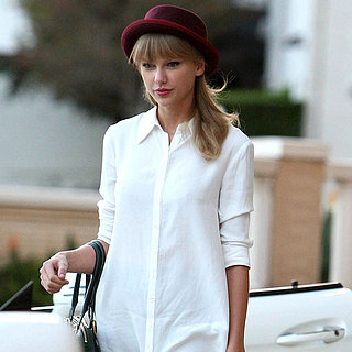 Taylor Swift Wearing White Shirtdress