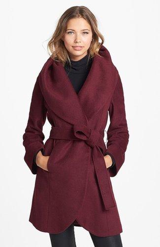 Tahari 'Marla' Cutaway Wrap Coat with Oversized Collar (Online Only)