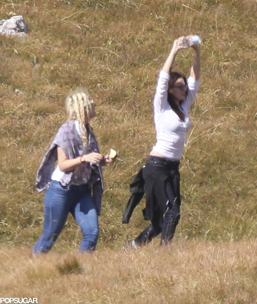 Kristen Stewart stretched out before filming began.