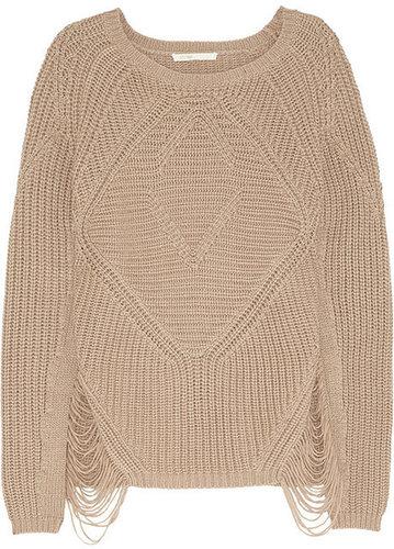Maje Aero laddered chunky-knit sweater