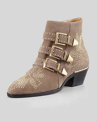 Chloe Suzanna Studded Bootie, Taupe/Golden