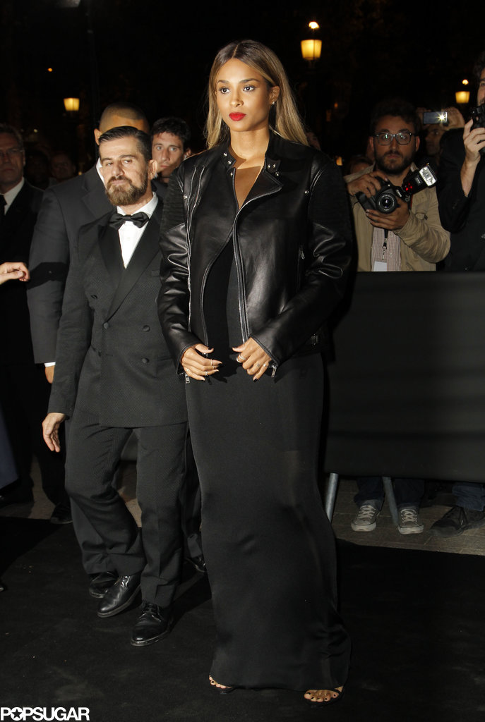 Ciara was fierce in all black, including a cool leather biker jacket, at the Mademoiselle C Paris premiere.